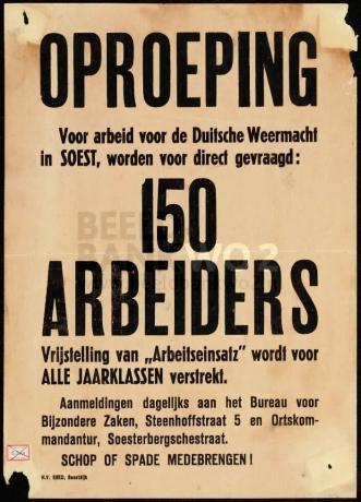 Oproeping: Voor arbeid voor de Duitsche Weermacht in Soest