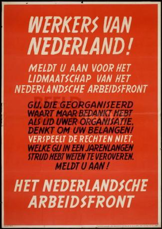 Werkers van Nederland! Meldt u aan
