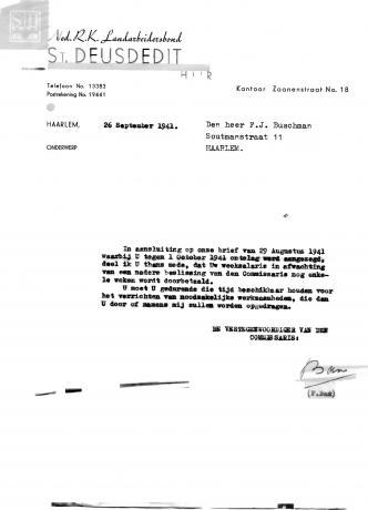 Ontslagbrief oktober 1941 RK Landarbeidersbond